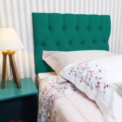 Cabeceira Painel Estofada Paris Suede Azul Turquesa